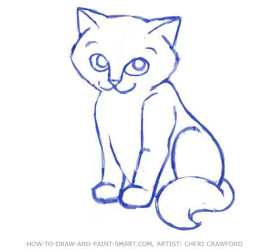 How to Draw a Cat Face Step 8