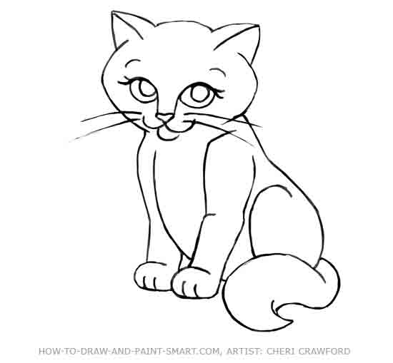 How to Draw a Cat Face Step 11
