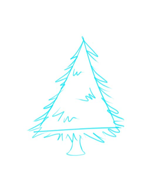 How to Draw a Christmas Tree Step 2