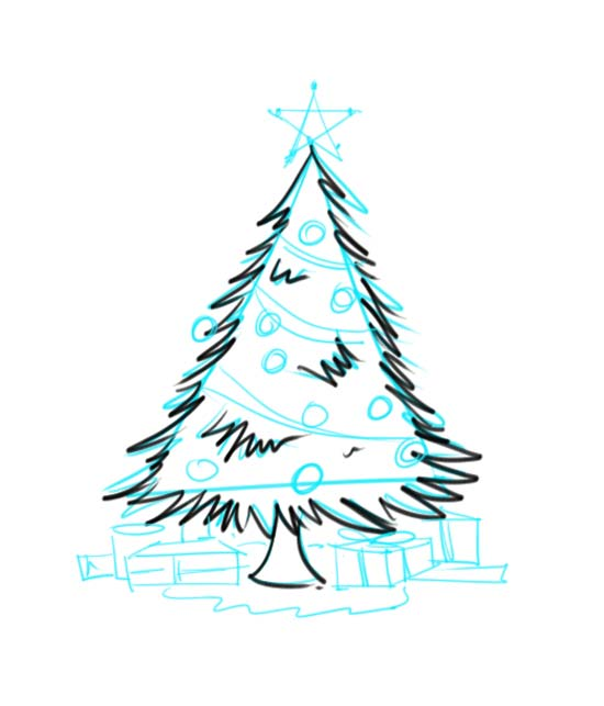 How to Draw a Christmas Tree with Presents bzgIMwTK