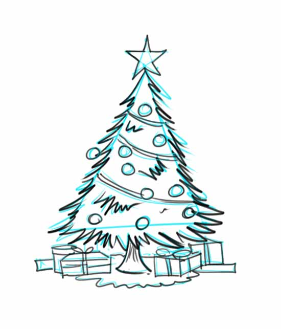 How to Draw a Christmas Tree Step 5