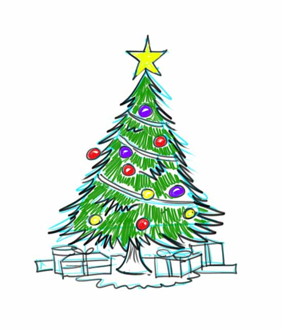 Christmas Trees Drawings | New Calendar Template Site