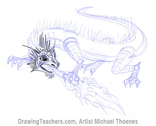 how to draw a realistic dragon body