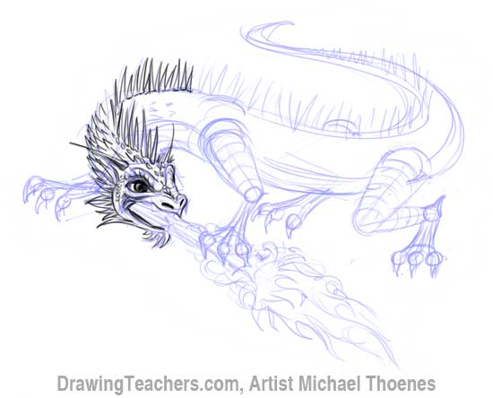 How to Draw Dragon Lizard 9