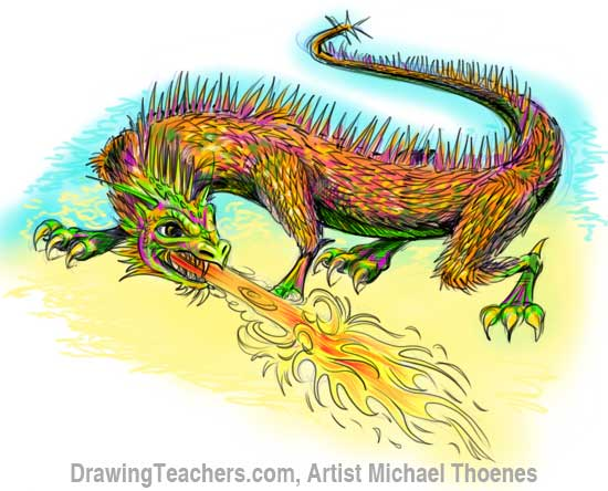 How to Draw Dragon Lizard 12