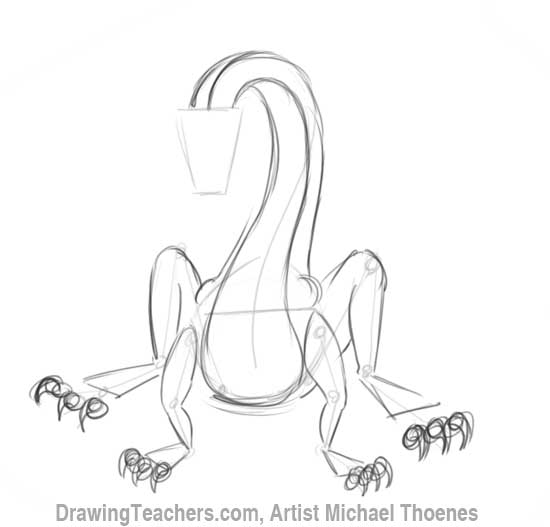 How to Draw Dragon Sitting 6