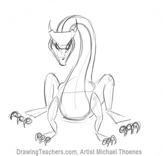 How to Draw Dragon Sitting 7