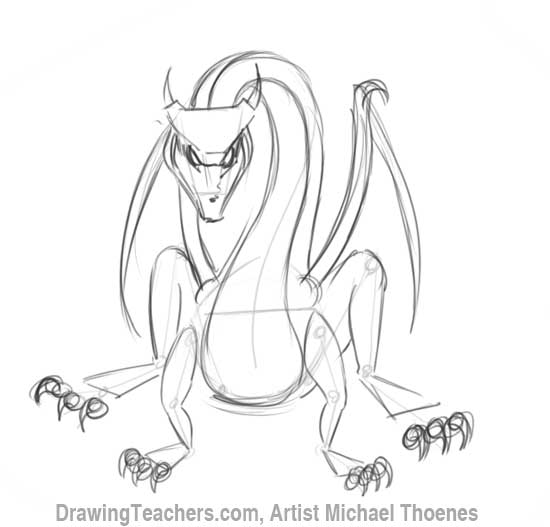 How to Draw Dragon Sitting 8