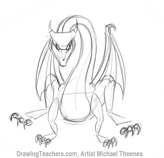 How to Draw Dragon Sitting 9