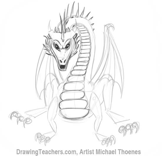 How to Draw Dragon Sitting 11