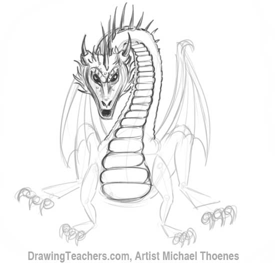 How to Draw Dragon Sitting 12