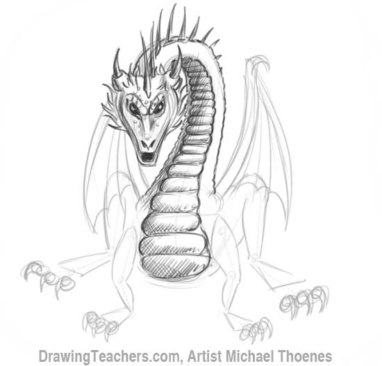 How to Draw Dragon Sitting 13