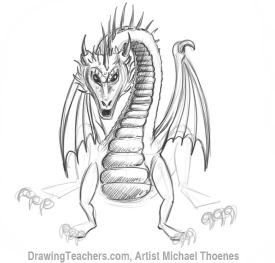 How to Draw Dragon Sitting 14