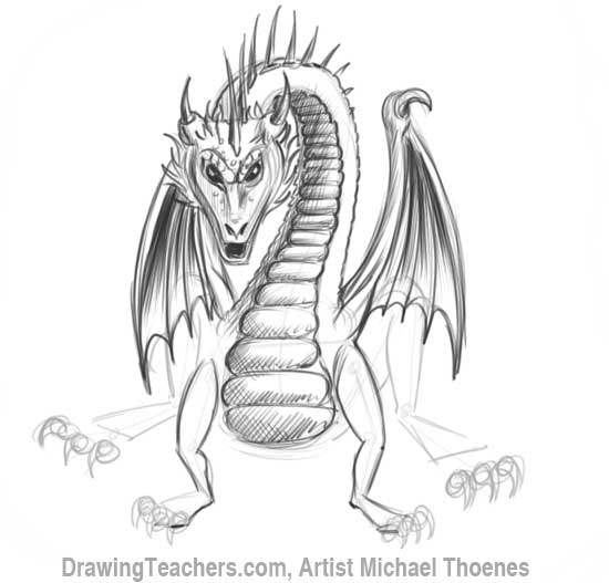 How to Draw Dragon Sitting 15