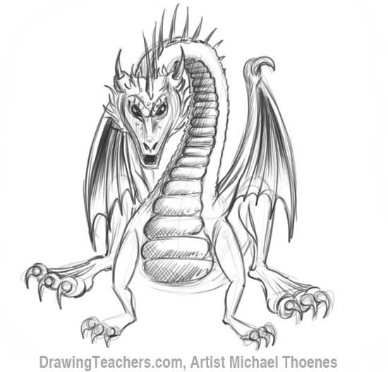 How to Draw Dragon Sitting 16