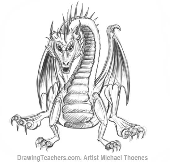 How to Draw Dragon Sitting 17