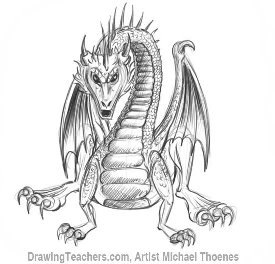 How to Draw Dragon Sitting 18