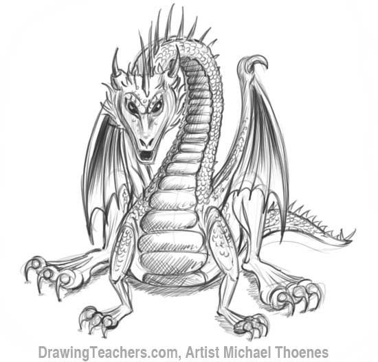 How to Draw Dragon Sitting 19