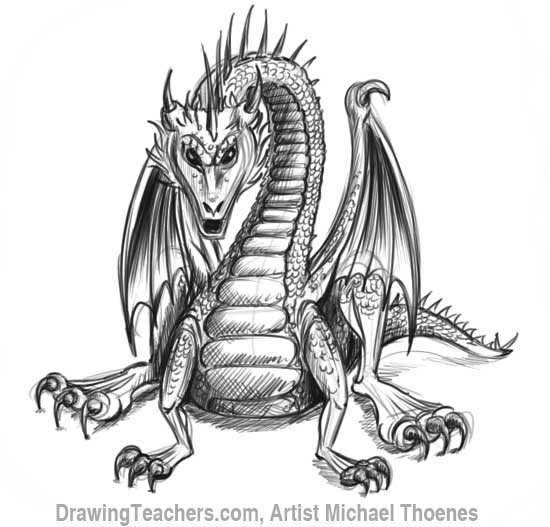 How to Draw Dragon Sitting 21