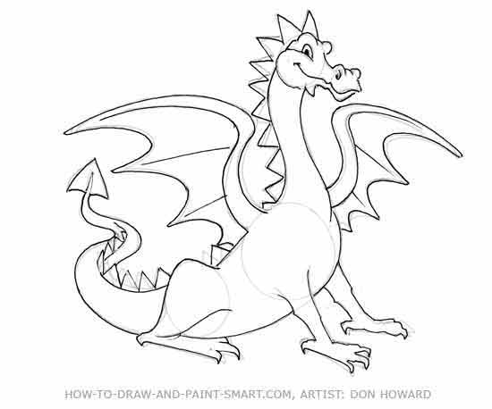 Cartoon Dragon Drawing Tutorial Step 6 Continue To Detail Your