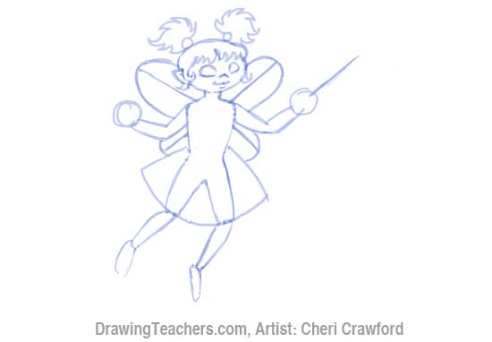 How to Draw a fairy Face Step 7