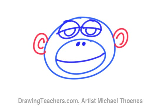 How to Draw a Funny Monkey Face Step 4