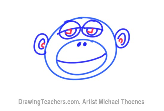 How to Draw a Funny Monkey Face Step 5