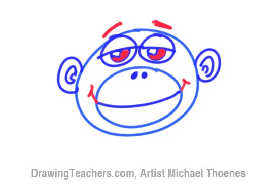 How to Draw a Funny Monkey Face Step 6