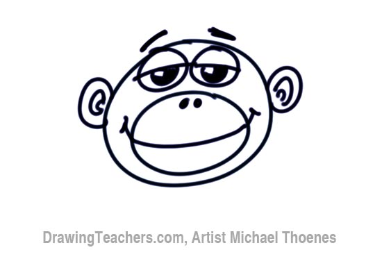 How to Draw a Funny Monkey Face Step 7
