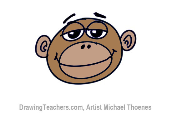 How to Draw a Funny Monkey Face Step 8