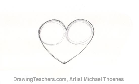 How to Draw a heart with arrow Step 2