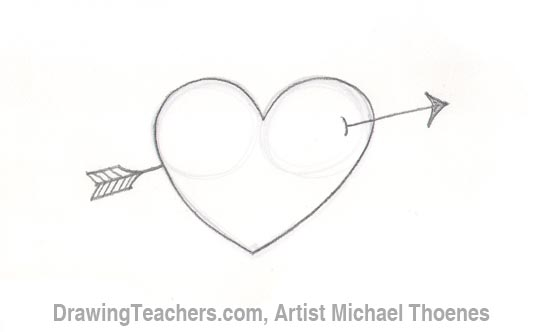 Heart with arrow drawing tutorial part 4 shade in your heart leaving highlights a the top and a thin rim light edge around the edge of the heart