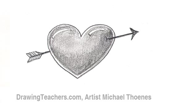 How to Draw a heart with arrow Step 4