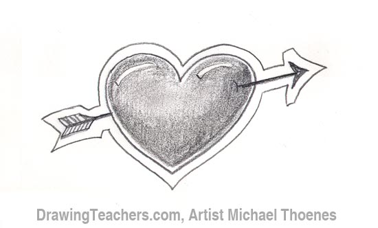 How to Draw a heart with arrow Step 5