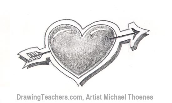 How to draw a heart with arrow step 6