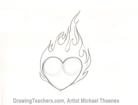 How to Draw a heart-with-Flames Step 4