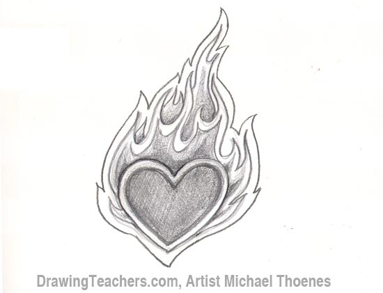 How to draw a heart with flames step 6