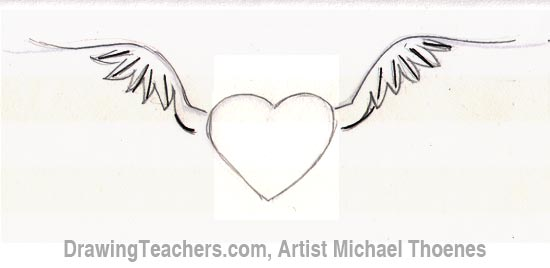 how to draw a heart with wings step 4