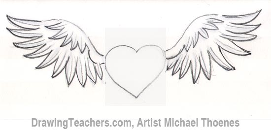 Drawings In Pencil Of Hearts With Wings