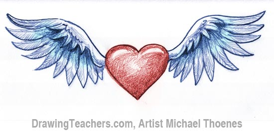 how to draw a heart with wings rh drawingteachers com images of red hearts with wings images of red hearts with wings