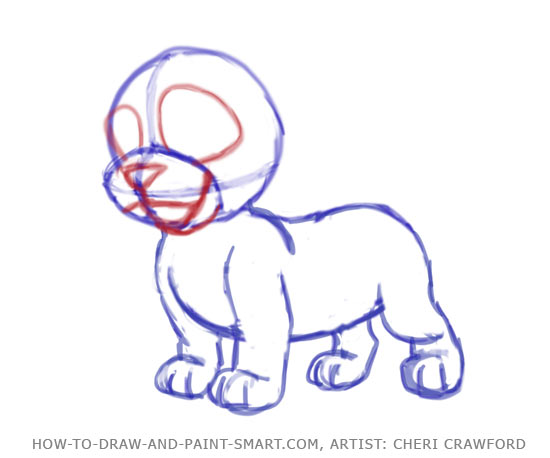 How to Draw a puppy Face Step 5