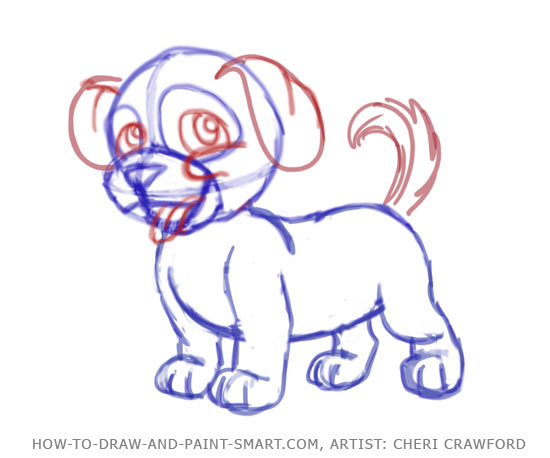 How to Draw a puppy Face Step 7