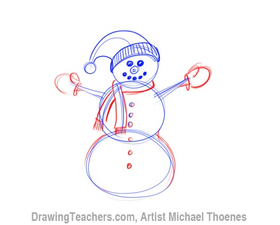 How to Draw a snowman Step 5