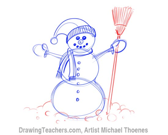 How to Draw a snowman Step 6