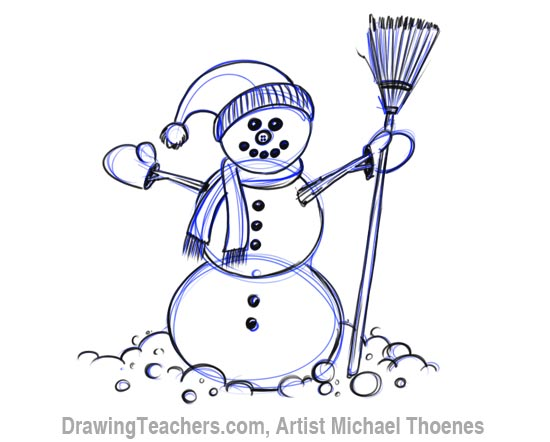 How to Draw a snowman Step 7