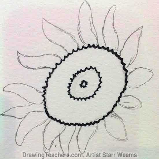 How to Draw a Sunflower 3