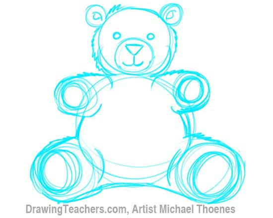 How to Draw a Teddy Bear Step 6
