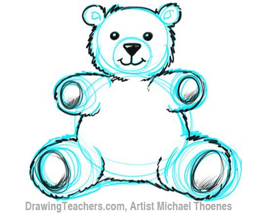 How to Draw a Teddy Bear Step 7