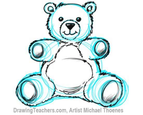 How to Draw a Teddy Bear Step 8