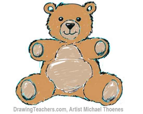 How to Draw a Teddy Bear Step 9